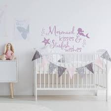 Mermaid Kisses And Starfish Wishes Wall Decal Nursery Quote Etsy In 2020 Mermaid Wall Decals Girls Wall Decals Name Wall Decals