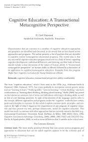 PDF) Cognitive Education: A Transactional Metacognitive Perspective