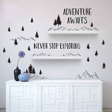 Adventure Awaits Never Stop Exploring Wall Decal Sticker Woodland Trees And Mountains Wall Stickers Quotes Nursery Decor J158 Buy At The Price Of 9 98 In Aliexpress Com Imall Com