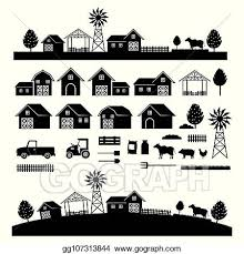 Vector Art Farm Objects And Landscape Silhouette Set Clipart Drawing Gg107313844 Gograph