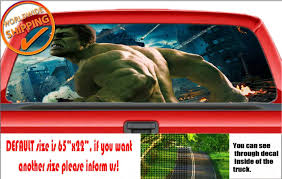 W013 The Avengers Hulk Ironman Thor Car Rear Window Decal Sticker Perforated Van Lavky Com
