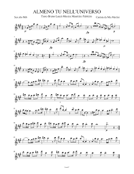 ALMENO TU NELL'UNIVERSO Sheet music for Alto Saxophone