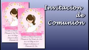 Como Hacer Una Invitacion Para Comunion Gratis First Communion Invitation Youtube