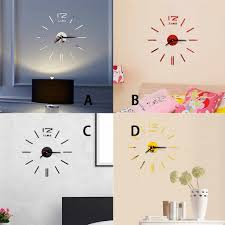3d Modern Design Wall Clock Acrylic Mirror Wall Sticker Clock Mirror Effect Decoration Acrylic Wall Clocks Decorative Clocks Aliexpress