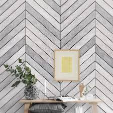 Chevron Grey White Wood Accent Mural Wall Art Wallpaper Peel And Stick