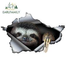 Big Discount A3f1 Earlfamily 13cm X 8 5cm Funny Sloth Car Sticker Torn Metal Decal Jdm 3d Reflective Car Bumper Decor Auto Motorcycle Stickers Cicig Co