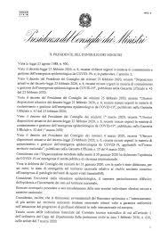 Coronavirus, pubblicato il Decreto del Presidente del Consiglio