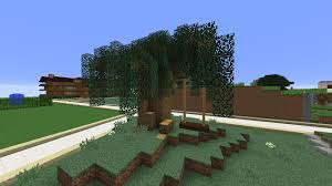 Minecraft Willow Tree Made From Spruce Leaves Oak Wood Swing Made From Oak Fences And Dark Oak Slabs Minecraft Building Diy Christmas Tree Tree