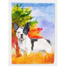 fall french bulldog garden flag