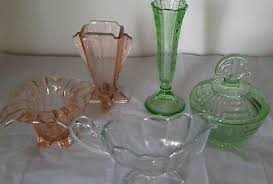 vintage art deco glassware 5 pieces