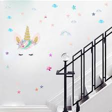 Creative Unicorn Stars Wall Stickers Girls Bedroom Flowers Decals Decor E