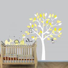 Grey Jungle Wall Stickers With Elephant Decals For Yellow Nursery