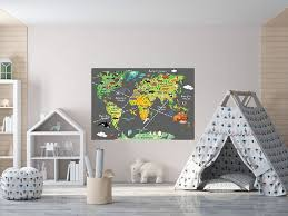 Huge Boys Room Map Of The World Playroom Decal World Map Wall Etsy