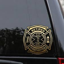 Retired Emt Firefighter Decal Sticker Ems Fire Rescue Medic Car Window Rlgraphics Firefighter Firefighter Decals Firefighter Stickers