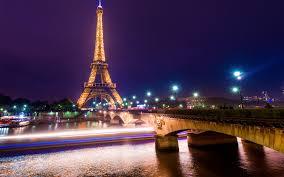 تحميل خلفيات برج إيفل الجسر ليلة أضواء باريس فرنسا عريضة