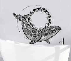 Whale Wall Decals Whale Vinyl Stickers Nautical Wall Decor Etsy