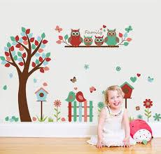 Cartoon Tree Owls Family Wall Sticker Animal Tree House Wall Stickers For Kids Rooms Nursery Tree Owls Wall Decal Sk9162 Wall Stickers Aliexpress
