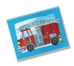 The Kids Room By Stupell Fire Truck With Blue Border Rectangle Wall Plaque For Sale Online