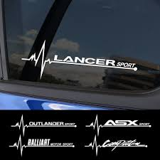 2pcs Sports Auto Vinyl Decals Car Side Window Sticker For Mitsubishi Lancer 10 3 9 Ex Outlander 3 Asx L200 Ralliart Accessories Car Stickers Aliexpress