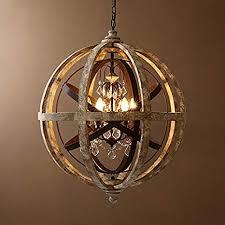 rustic weathered wooden globe metal orb