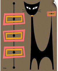 Amazon Com Canvas On Demand Atomic Cat With Pink And Gold Rectangles Wall Decal 11 X14 Home Kitchen