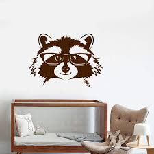 Vinyl Wall Decal Forest Raccoon In Glasses Funny Animal Head Stickers Wallstickers4you