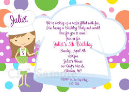 Cooking Baking Birthday Party Invitation Chefs Hat Birthday