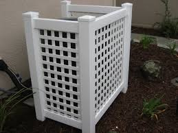 This Cover Works For A Smaller Condenser Or Carrier S Compact Slim Line Condensers Made For Narrow Areas Made With Pvc Hide Ac Units Ac Unit Cover Hvac Cover