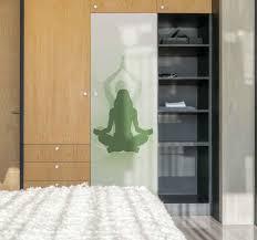 Closet Door With Yoga Furniture Sticker Tenstickers
