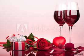 with rose wine glasses and gift box