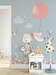 The Rabbit Girl With Pink Balloon And Little Flowers Wallpaper Mural Wallmur