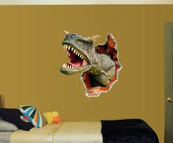 Kid S T Rex Dinosaur Breaking Through Wall Decal Full Color Vinyl Sticker Room Decoration Mc Artwork Decals