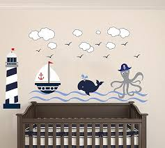 Nautical Theme The Wonderful Sea World Sailor Children S Room Kids Room Baby Nursery Playroom Wall Decal Mural Vinyl Transfer Wall Art Am Wide 50 X 28 Height Baby B06y1cd9cf