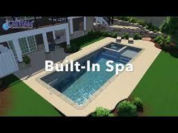 rectangle fiberglass pool with spa and