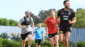 Gary Ablett, Dan Hannebery and Shane Edwards training hard in hub