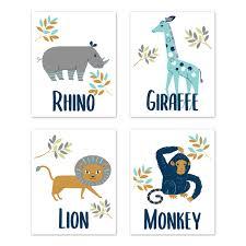 Safari Jungle Animal Wall Art Prints Room Decor For Baby Nursery And Kids By Sweet Jojo Designs Set Of 4 Mod Turquoise Navy Blue Orange And Grey Rhino Giraffe Lion