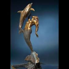sculpture la sirena bronze life size