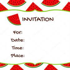 Invitation Card Watermelon Colorful Background Stock Vector