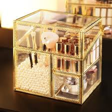 glass with lid storage box makeup brush