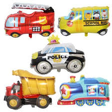 cute train bus ambulance police ballons