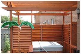 Flex Fence Louvered Hardware For Fences Decks Pergolas Hot Tub Privacy And So Much More Photo Gallery Hot Tub Backyard Hot Tub Pergola Hot Tub Outdoor