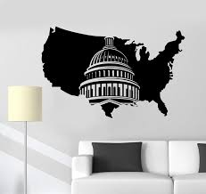 Vinyl Wall Decal Usa Map United States Washington Capitol Art Sticker Mural Living Room Bedroom Home Decor 2dt4 Wall Stickers Aliexpress