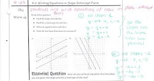 writing equations in slope intercept