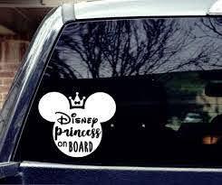 Disney Princess On Board Car Decal Etsy