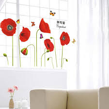 Red Poppy Flowers Butterflies Wall Stickers Art Decal Wall Mural Home Decor Nursery Wall Decal Nursery Wall Decals From Calendar96 5 28 Dhgate Com
