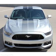 2015 2017 Ford Mustang Digital Faded Rally Stripes Black Hood Striping Factory Oem Style Vinyl Decal Graphics Kit