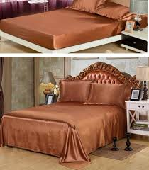 brown bed sheets satin silk bedding