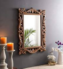 handcrafted wooden wall mirror