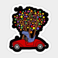 Cute T Rex Dinosaur Driving Red Sports Car Dinosaur Sticker Teepublic