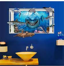 Jaws Shark Wall Sticker Kids Room Decoration Home Decal Deep Sea World 3d Window Wall Art Animals Peel And Stick Removable Wall Stickers Aliexpress
